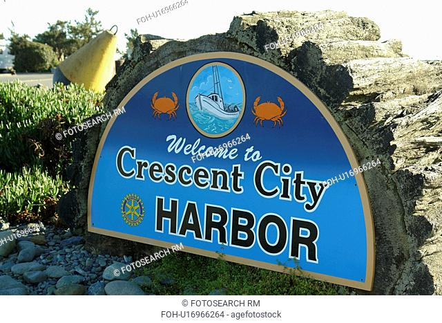 Crescent City, CA, California, Pacific Ocean, Welcome to Crescent City Harbor sign