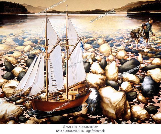 Sailboat in a Rocky Stream