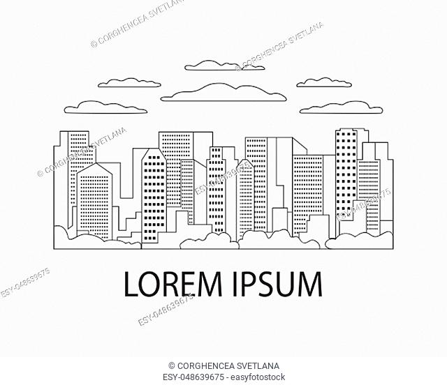Thin line city landscape flat. Panorama design urban modern city with high skyscrapers, buildings, mountains, hills, trees, sky, clouds and sun