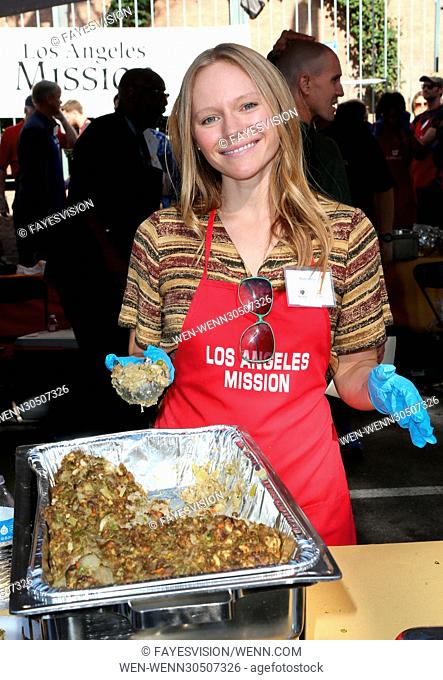 Los Angeles Mission Thanksgiving Meal For The Homeless Featuring: Marci Miller Where: Los Angeles, California, United States When: 23 Nov 2016 Credit:...