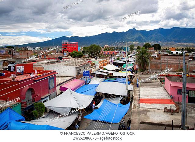 View from top on market street with many tarpaulins. Tlacolula, Oaxaca. Mexico