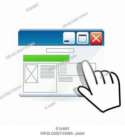 Illustration of computer screen maximize and minimize tab