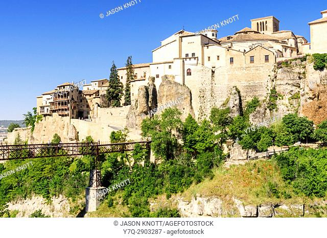 The San Pablo Bridge overlooked by the cliff hanging houses of Cuenca, Castilla-La Mancha, Spain