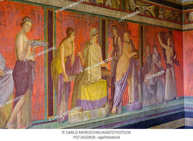 Roman frescoes at Villa of the Mysteries, Pompeii the ancient Roman town near Naples, Campania, Italy, Europe