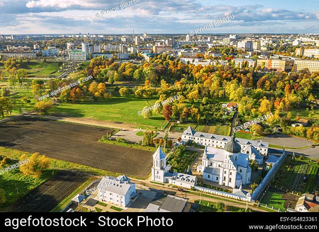 Mahiliou, Belarus. Mogilev Cityscape With Famous Landmark St. Nicholas Monastery. Aerial View Of Skyline In Autumn Day. Bird's-eye View