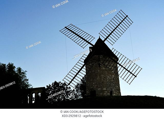 old windmill, Tourtres, Lot-et-Garonne Department, New Aquitaine, France