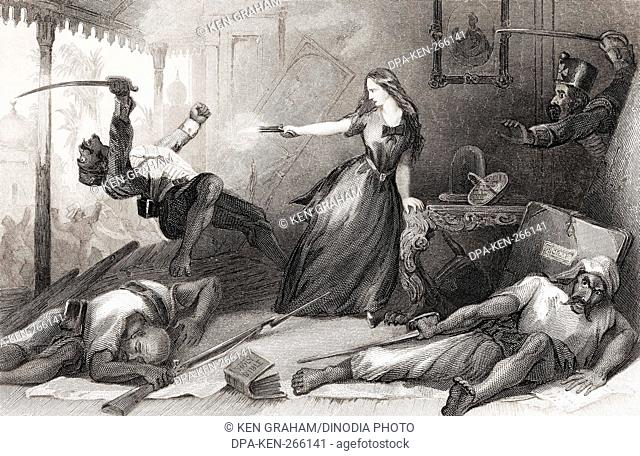 Miss Wheeler defending herself against Sepoy at Cawnpore, India, Asia, 1857