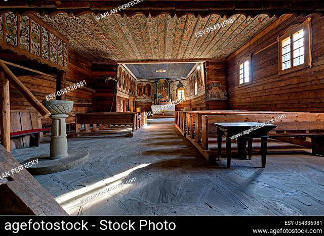 Wooden church of St. Elizabeth, interior, open-air museum, Zuberec, Slovakia