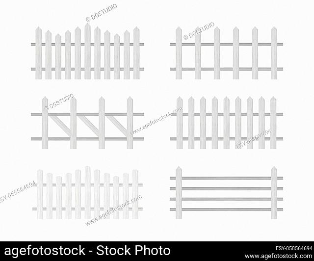 Wooden fence. Rustic fence, pickets Vector stock illustration