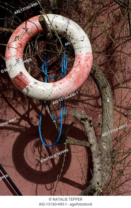 Life preserver on canalside at Lisson Wide, Regent's Canal, Lisson Grove, London, NW8, England