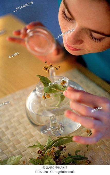 Woman preparing herbal tea