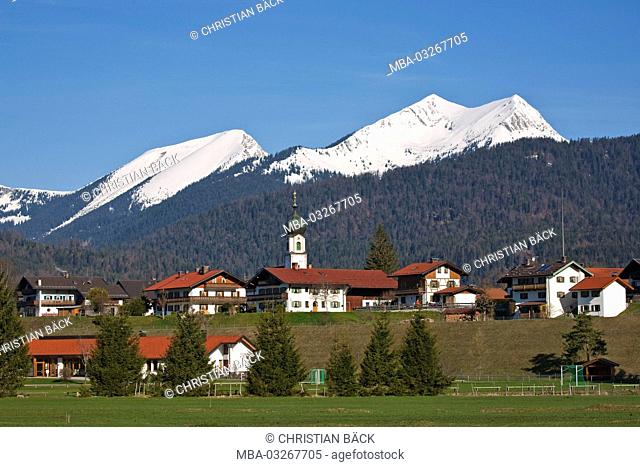 Krün in front of the Ester mountains, Upper Bavaria, Bavaria, Germany