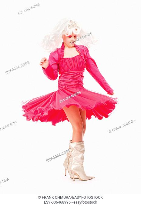 Little Girl in White Wig and Red Dress as Princess Dancing