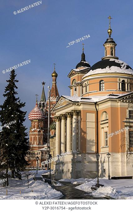 Church of Great Martyr Varvara (Barbara) with St. Basil Catthedral in background. Moscow, Russia