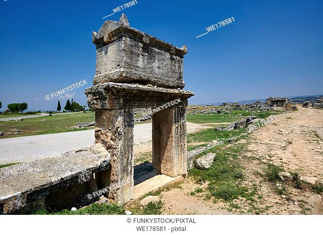 Picture of a Roman raised sarcophagus of the North Necropolis. Hierapolis archaeological site near Pamukkale in Turkey