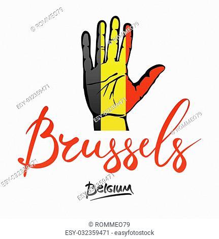 Open hand painted Belgium flag painted. lettering hand-written Belgium. Brusselse. art