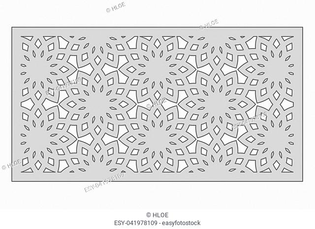 Template for cutting. Geometric flower pattern. Laser cut. Ratio 1:2. Vector illustration