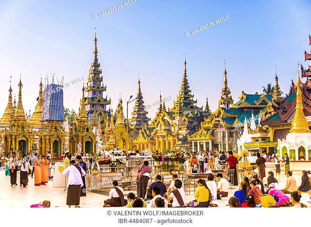 Religious native Burmese, stupa, Shwedagon Paya, Shwedagon, Rangoon, Myanmar