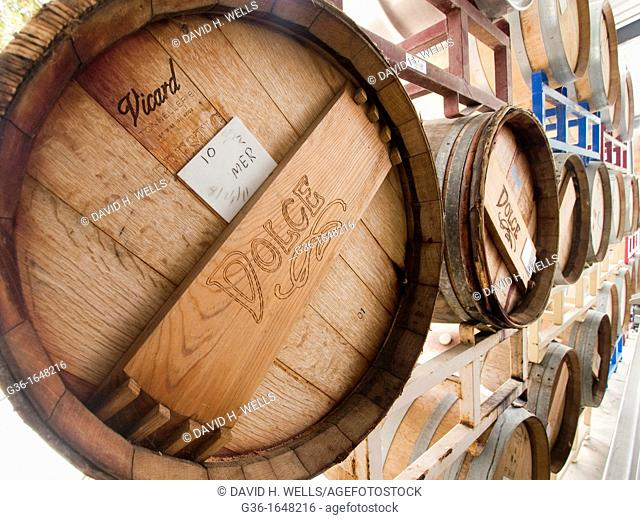 Stacked barrels in a winery in Paso Robles  California, United states