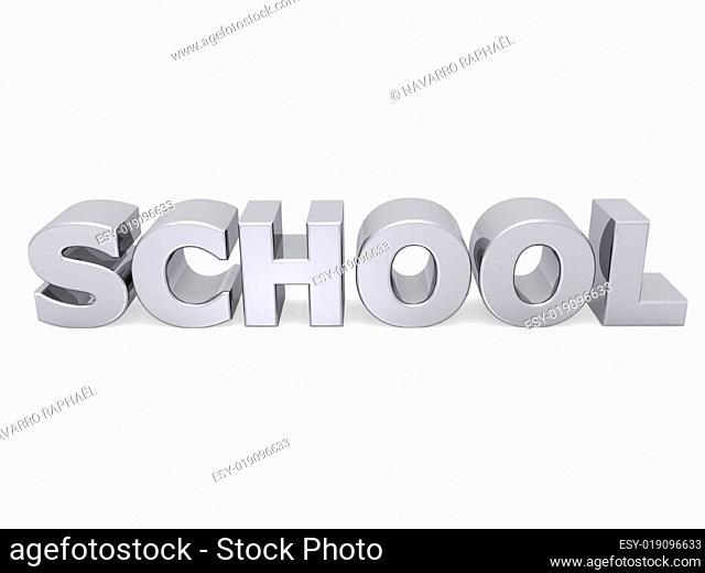 school word with metal texture