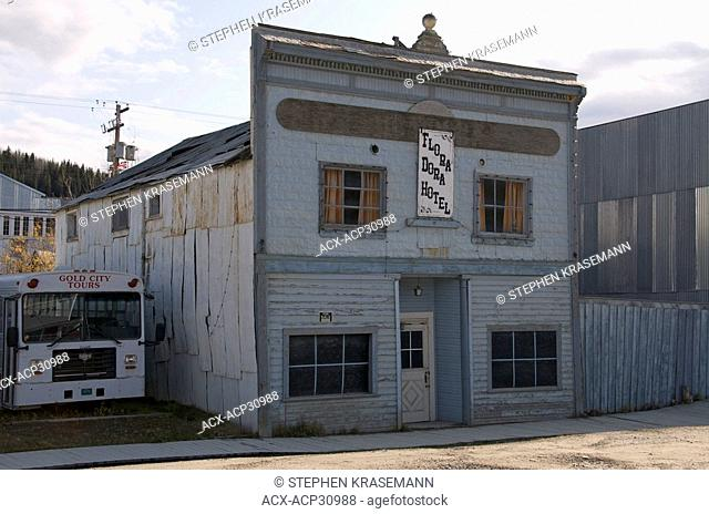 An old historical prostitution hotel, or brothel building from gold rush era. Dawson City, Yukon, Canada