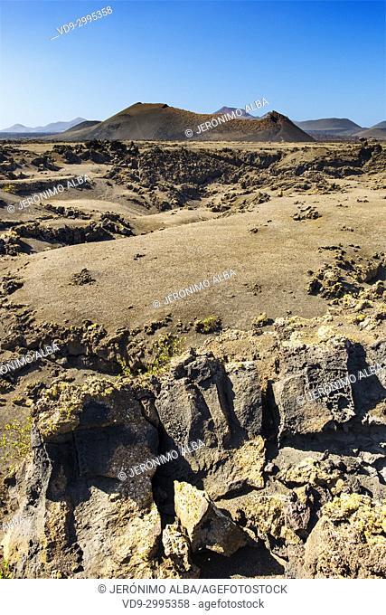 Volcanic landscape, Timanfaya National Park. Lanzarote Island. Canary Islands Spain. Europe