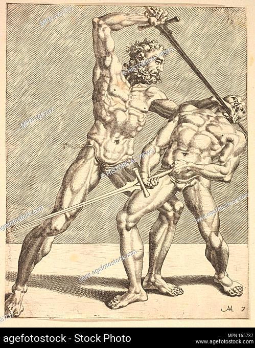 Two Fencers, from Fencers, plate 7. Series/Portfolio: Fencers; Artist: Dirk Volckertsz Coornhert (Netherlandish, Amsterdam 1519/22-1590 Gouda); Artist: Cornelis...