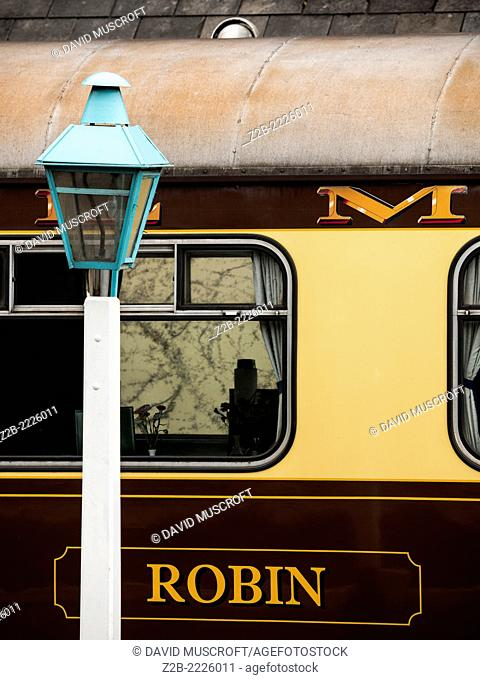 Vintage Pullman carriages at Grosmont station on the North Yorkshire Moors Railway, near Whitby, North Yorkshire, UK