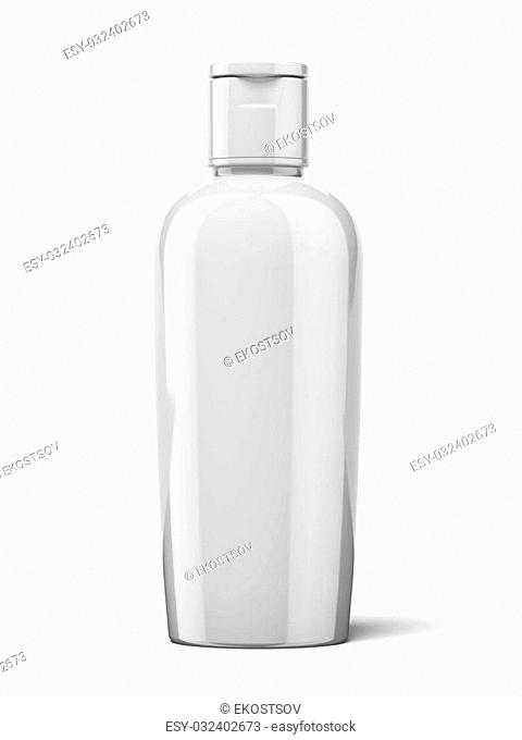Shampoo Plastic Bottle isolated on a white background. 3d render