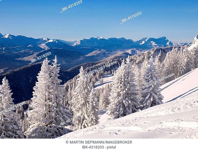 Winter landscape, Brauneck, Zugspitze rear right, Lenggries, Isarwinkel, Bavarian Prealps, Upper Bavaria, Bavaria, Germany