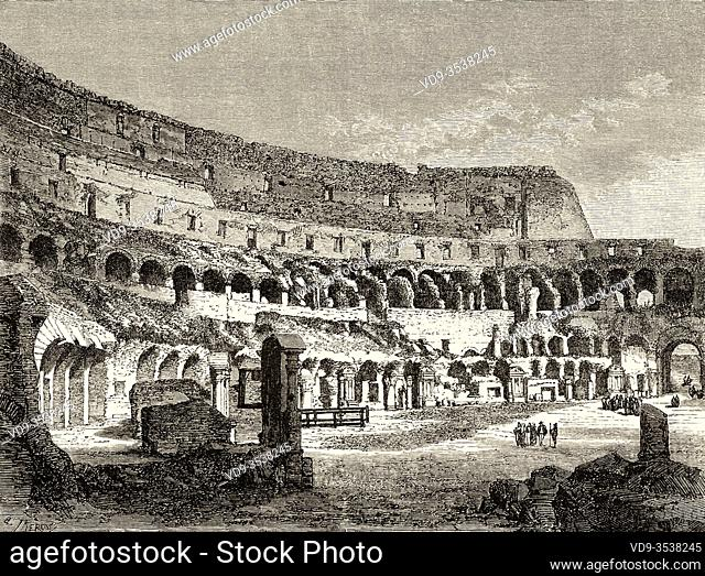 The arena of the Colosseum, Rome. Italy, Europe. Trip to Rome by Francis Wey 19Th Century