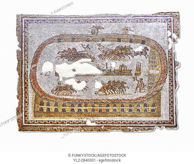 Late 2nd early 3rd century AD Roman mosaic depictiong a chariot race at the circus. From Cathage, Tunisia. The Bardo Museum, Tunis, Tunisia