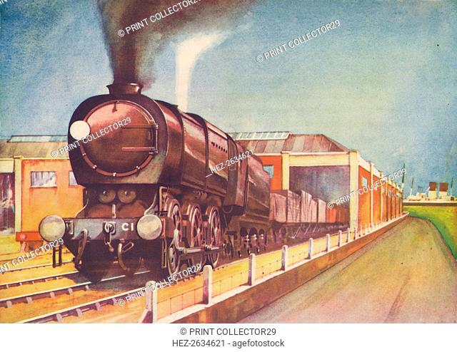 'Latest Austerity Freight Engine, S.R., at Southampton Docks', 1940. Artist: Unknown