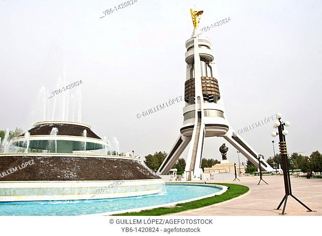 Monument to Turkmenbashi in the Independence square of Ashgabat, Turkmenistan