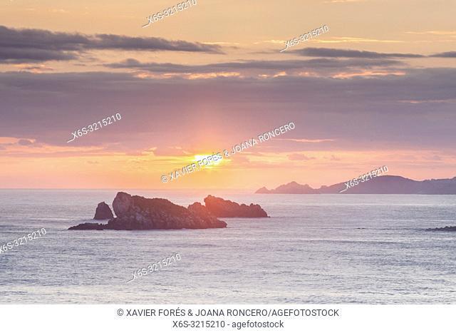 Dawn at Roca Blanca - White Rock - in Suances, Cantabria, Spain