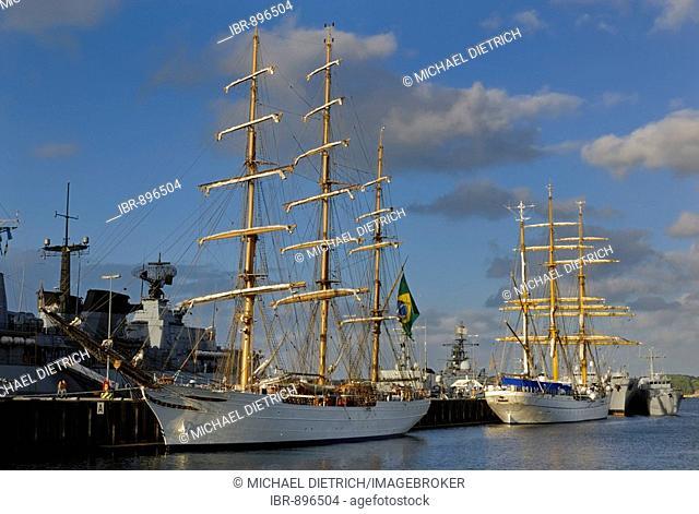 Tall Ships, Cisne Branco and Gorch Fock in Tirpitz harbour, Kiel Week 2008, Kiel, Schleswig-Holstein, Germany, Europe