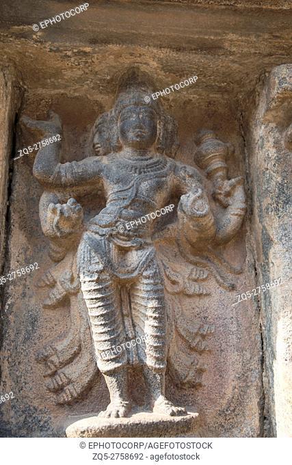 Brahma, creator god, third niche at the base of agra-mandapa, Airavatesvara Temple, Darasuram, Tamil Nadu, India