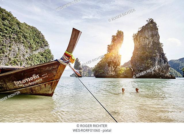 Thailand, Phang Nga Bay, moored long-tail boat