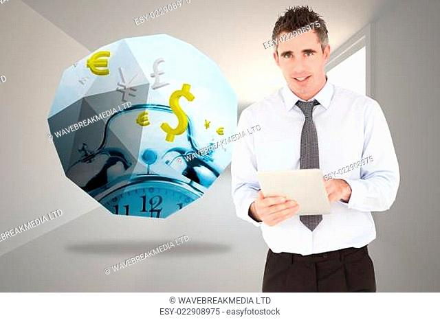 Composite image of portrait of a businessman with a tablet computer