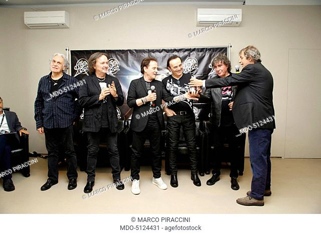 The Italian band Pooh awarded with a platinum Telegatto Anniversary Special by the director of Sorrisi Aldo Vitali to celebrate the band's golden jubilee