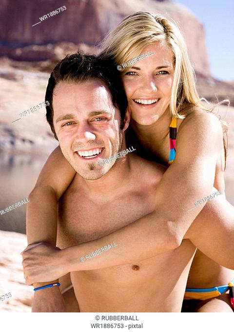 young couple at lake powell