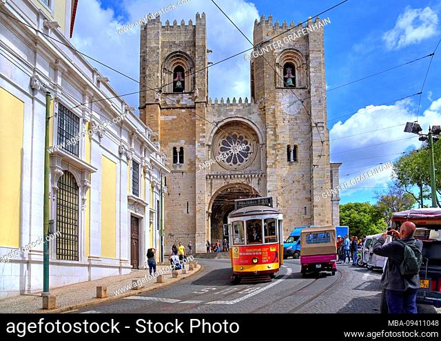 Cathedral se in the old town with historic tram, Lisbon, Portugal