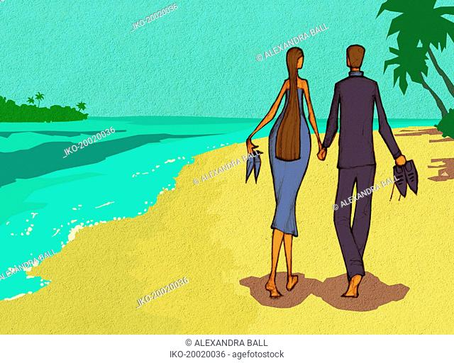Romantic well-dressed couple walking on beach carrying shoes