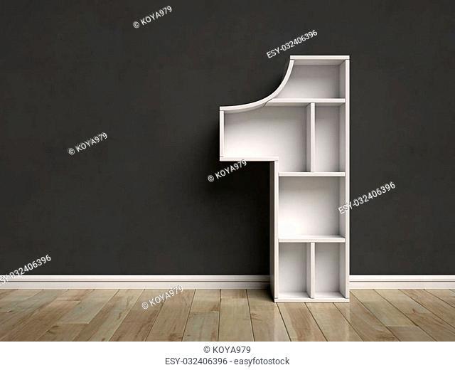 Number 1 shaped shelves 3d rendering
