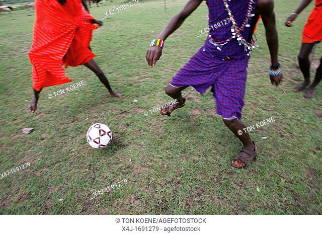 Football is opne of the most popular activities among the Massai tribe in south kenya Whenever their cows are brought in the village