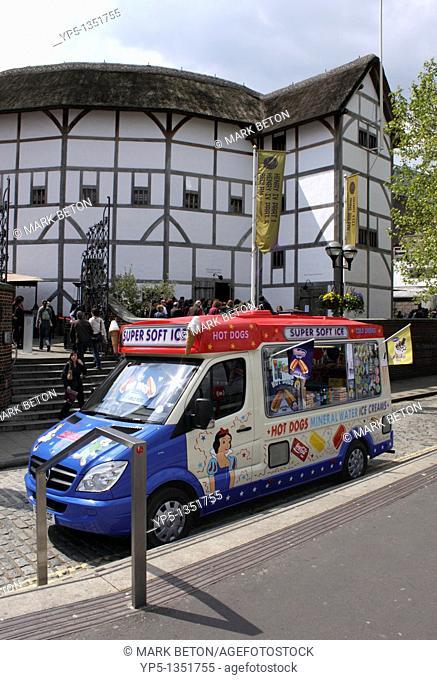Ice Cream Van and Globe Theatre South Bank London