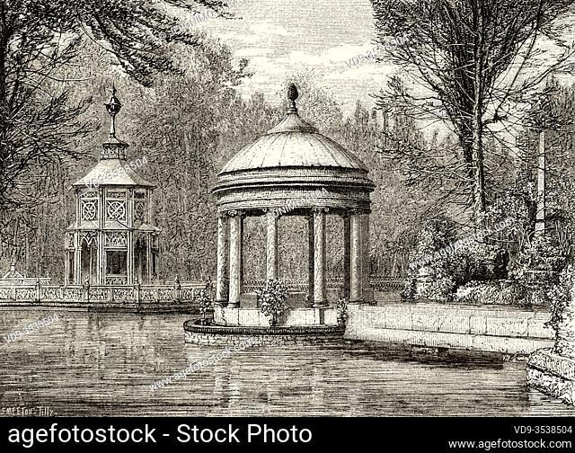 Greek style temple and gardens in Royal Palace of Aranjuez, Madrid. Spain, Europe. Old 19th century engraved illustration, El Mundo en la Mano 1878