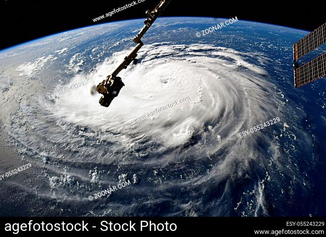 Hurricane Florence. Viewed from the International Space Station. Elements of this image furnished by NASA