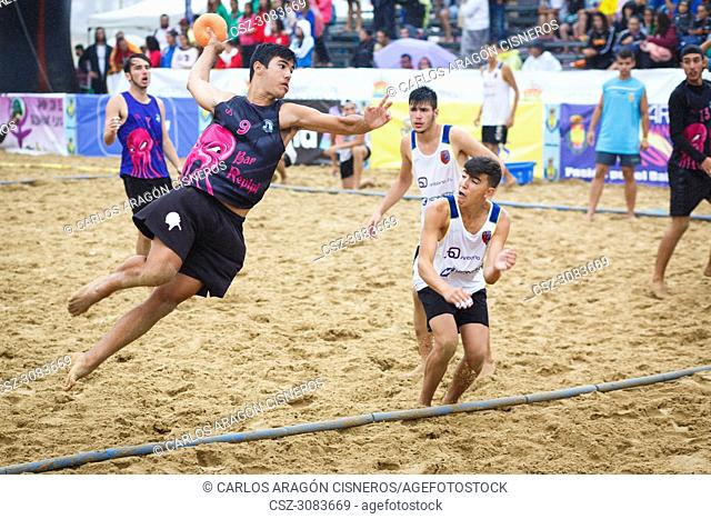 LAREDO, SPAIN - JULY 31: Unidentified player launches to goal in the Spain handball Championship celebrated in Laredo in July 31, 2016 in Laredo, Spain