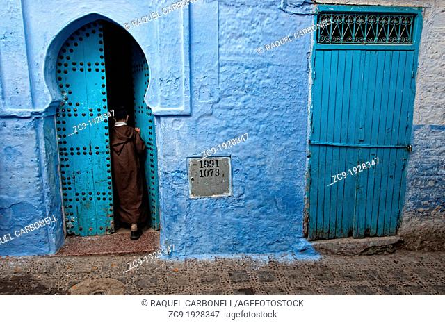 Blue doors in the medina of Chefchaouen Rif region, Morocco